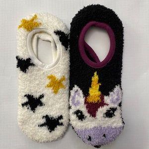 Old Navy Slipper Socks Unicorn Stars 2 Pair